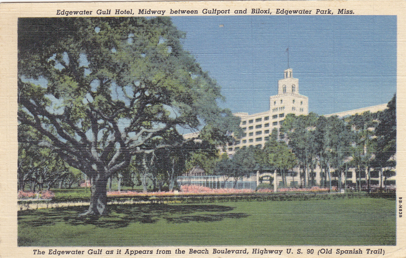 Edgewater gulf hotel in mississippi moore s postcard museum