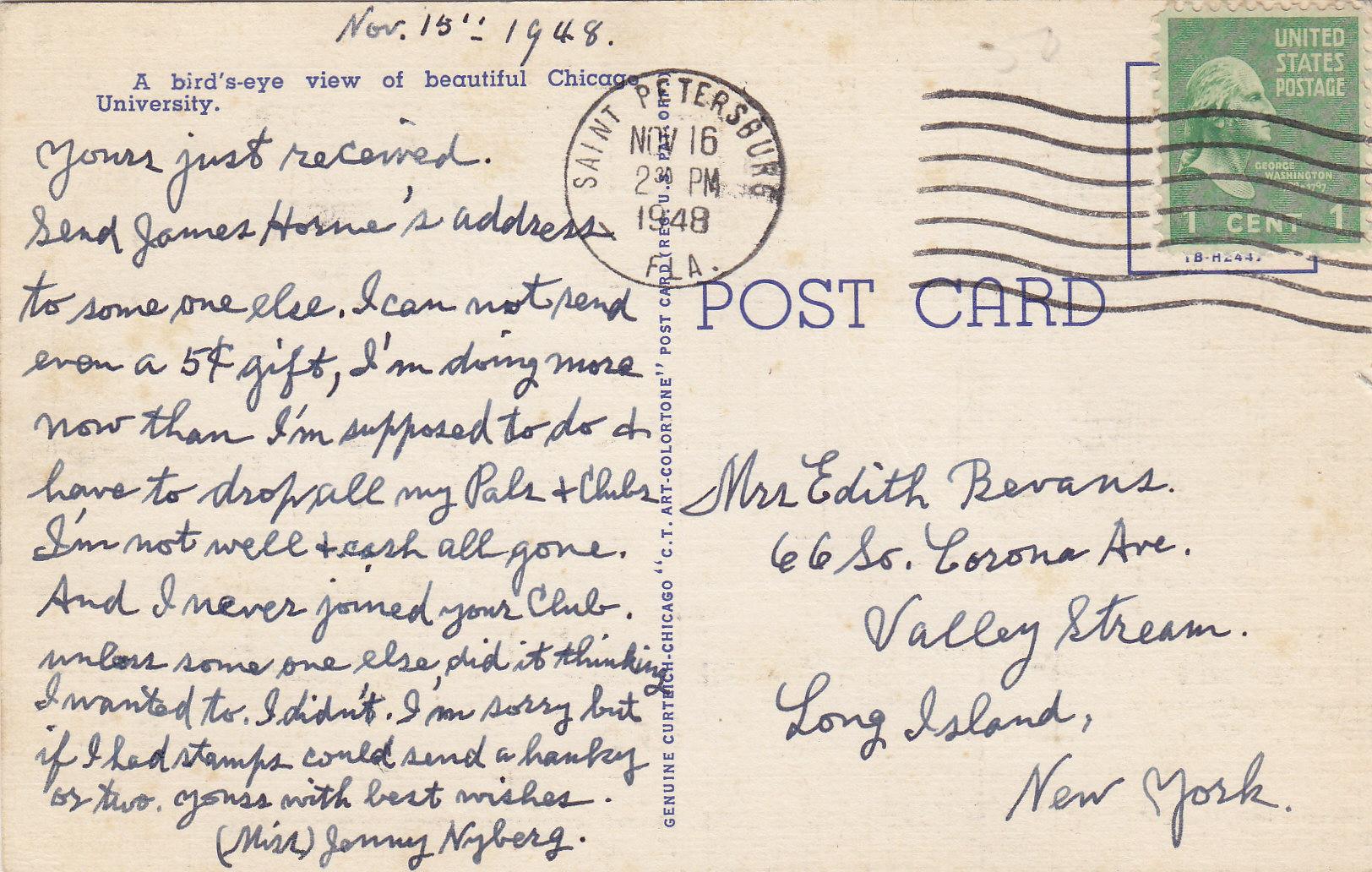 Sad Postcard Message Cash All Gone Moore S Postcard Museum