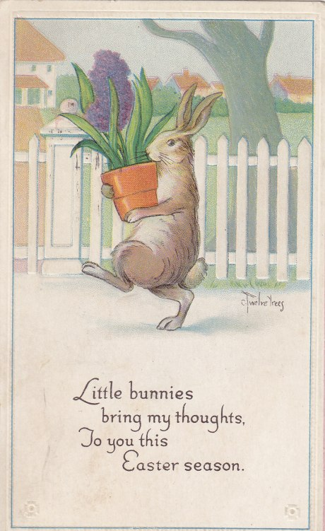 Bunny with Purple Flowers